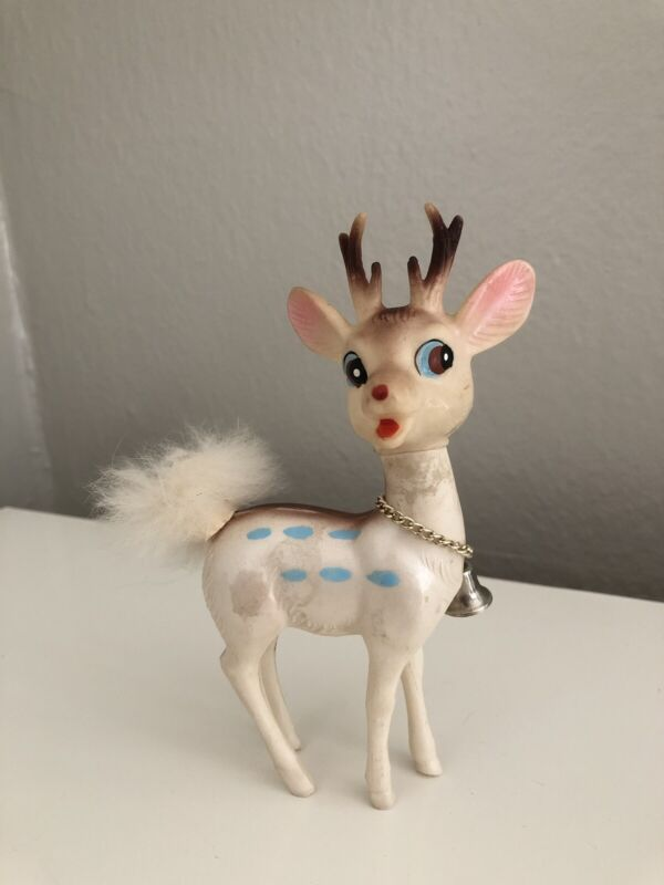 RARE Vintage Christmas White Reindeer - Made In Japan - Hard Plastic