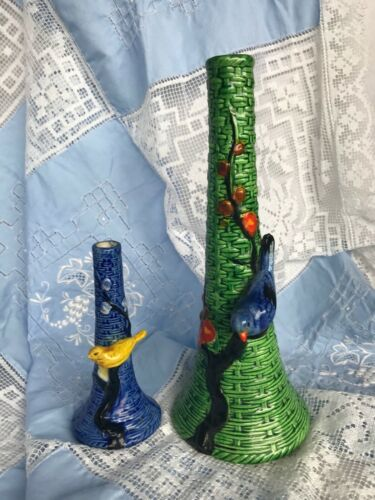 Vintage Japanese Art Pottery Ceramic Vase Bird Cherry Blossom Branch