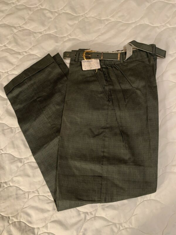 Vtg 50s 60s NOS NWT Blue Bell Belted Green Plaid Pants Flat Front Cuffs Youth 12