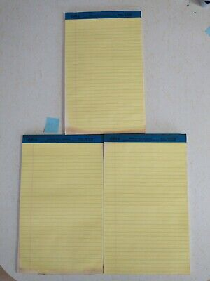 Legal Rule Writing Pads 8-12 X 13 Canary Yellow Paper Lot Of 3 - Set 1