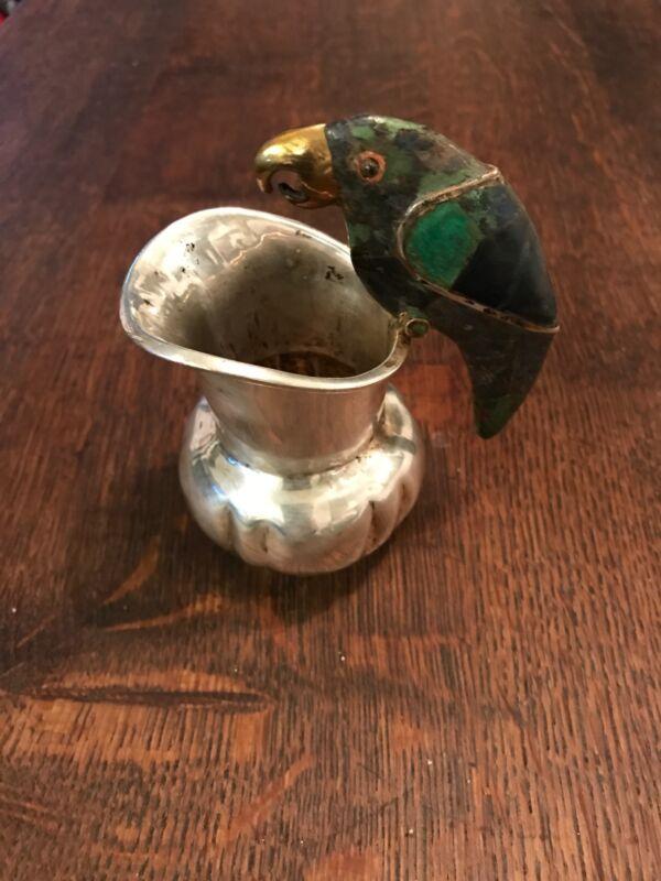 Vintage Los Castillo Parrot Silver Creamer