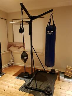3-1 Full sized Punching bag stand +bag+speedball+kickball