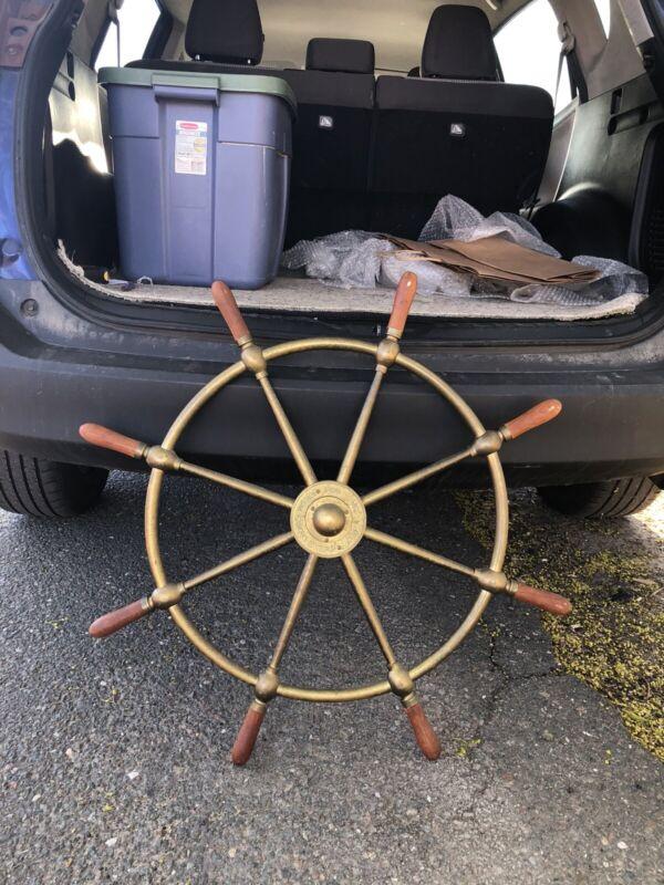 """30 1/2"""" brass brown bros rosebank ironworks ships wheel"""