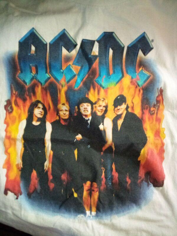VTG 2000 AC/DC STIFF UPPER LIP WORLD TOUR BAND T-SHIRT SIZE LARGE RARE WHITE