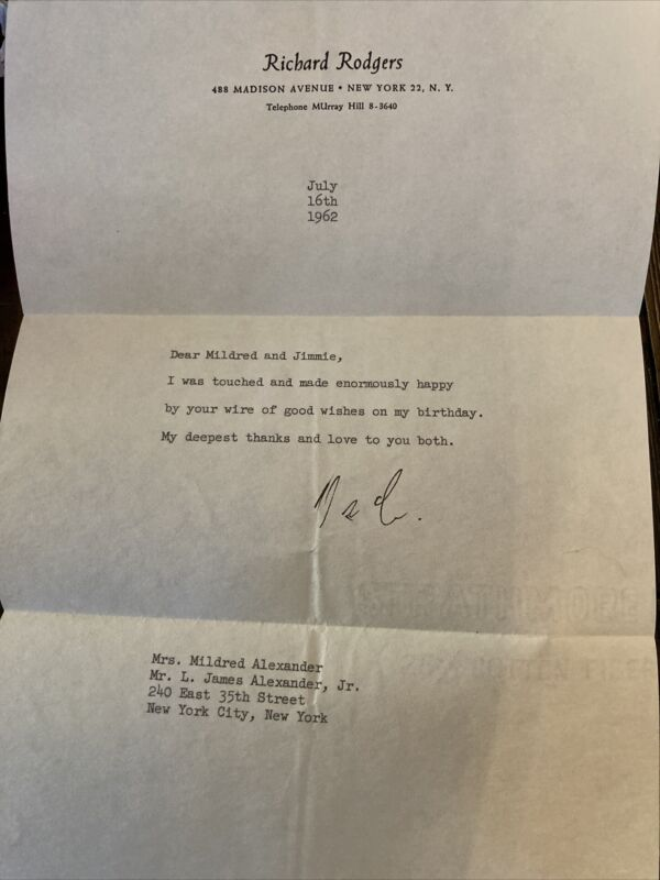 Richard Rodgers Signed Letter