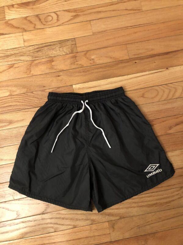 Umbro Vintage Youth Black Nylon Soccer Shorts Size L