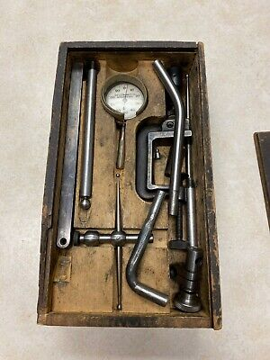 Vintage Starret Machine Tools Gage Tap Etc. In Wood Box