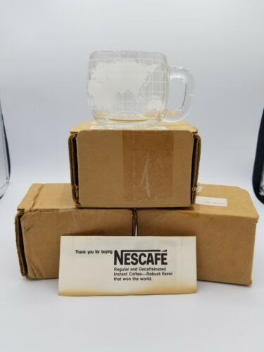 Vintage Set of 4 Nescafe Clear Glass Etched World Map Globe Coffee Cup  (Bx15)