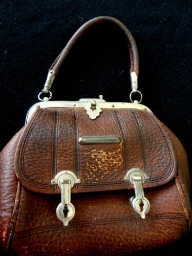 ANT LEATHER DOLL SACHEL/VALISE VICTORIAN SILVER CLOSURES -HANDSOME FABULOUS