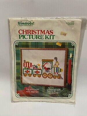 Wonder Art #5390 Picture Kit Christmas Express Train Set Santa 11 X 14 Vintage