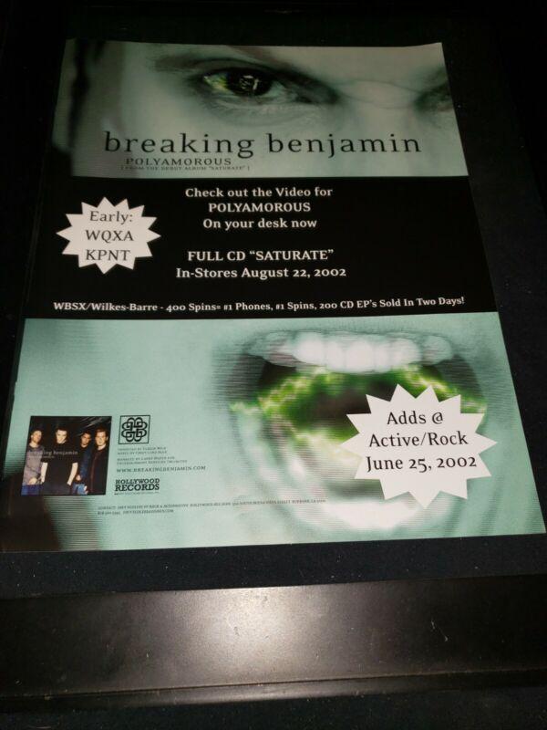 Breaking Benjamin Polyamorous Rare Original Radio Promo Poster Ad Framed