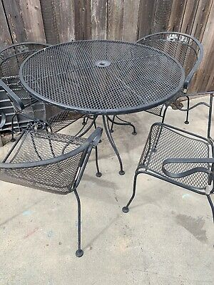 5 piece Russell Woodard wrought iron patio furniture set Mid-Century Vintage ()