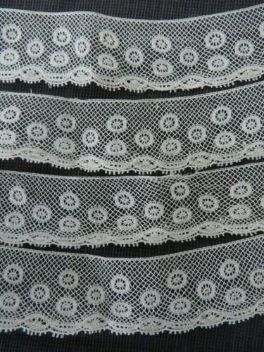 """Antique French Valenciennes Lace Trim 1"""" X 113"""" Circles Dots Doll Dress Bonnet"""