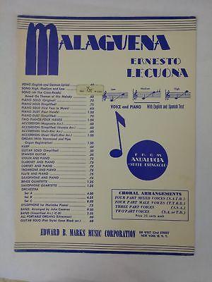 ERNESTO LECUONA Malaguena Piano Sheet Music