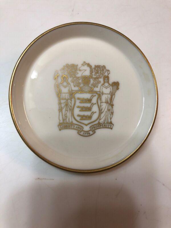 """Lenox State Of New Jersey Gov Brendan Byrne 1980 Commemorative 4"""" Dish/Coaster"""