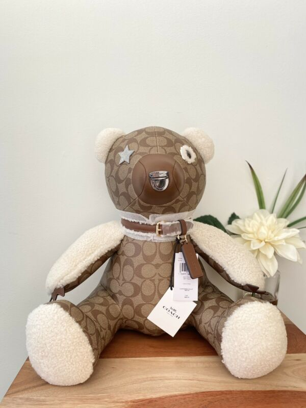 """NWT Coach Collectible Logo Teddy Bear In Signature Canvas 15"""" Limited Edition"""