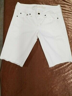 Off White Pocket - American Eagle Off White Cut Off Jean Shorts Size 6 NWOT Design On Back Pocket