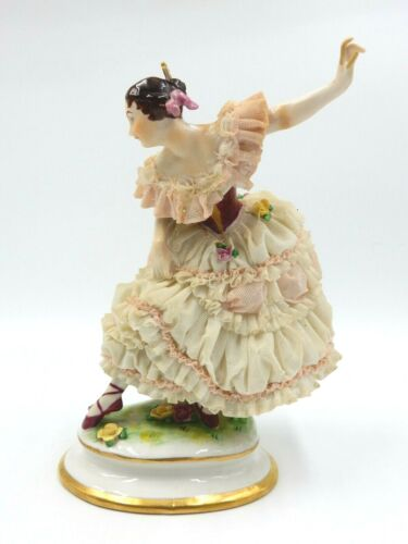 "ANTIQUE GERMAN VOLKSTEDT DRESDEN LACE PORCELAIN 9.5"" TALL BALLERINA FIGURINE"