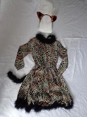 LEOPARD WILDKATZE KOSTÜM Kätzchen Kleid m. Haarreif 98-104-110-116-122 Katze Cat