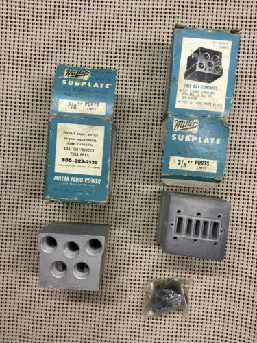 "Lot of TWO - Miller #503 Valve Subplate for Miller 504 Air Valve - 3/8""  - NOS"