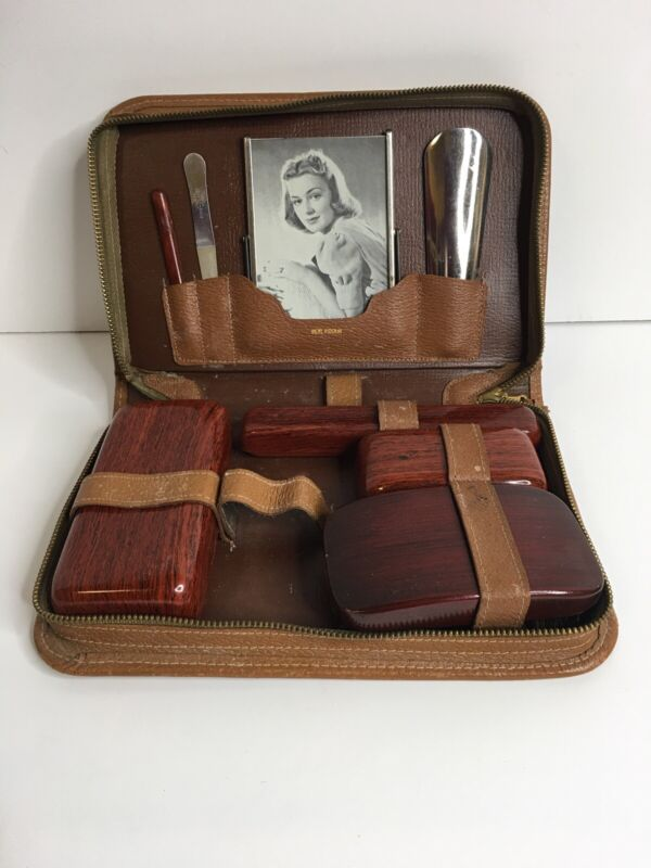 Men's Travel Toiletry Kit , Leather, 1950's, Vintage, Celluloid Containers