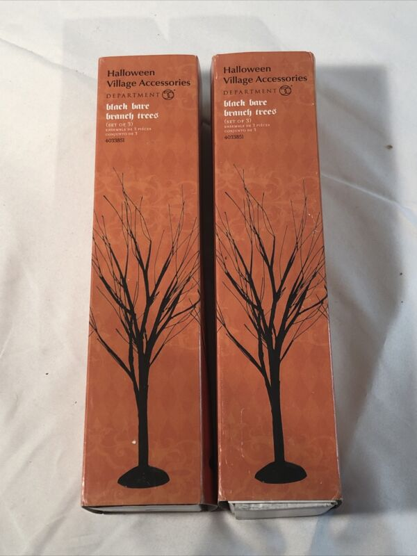 Department 56 Halloween Accessory ~ Black Bare Branch Trees Set of 3 ~ #4033851