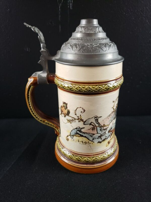 Vintage german beer stein lidded 1/4L