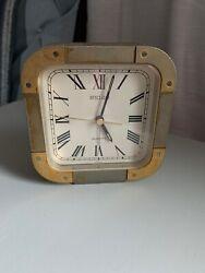 VINTAGE SEIKO Quartz HEAVY /DESK CLOCK BATTERY BRASS CASE UNIQUE