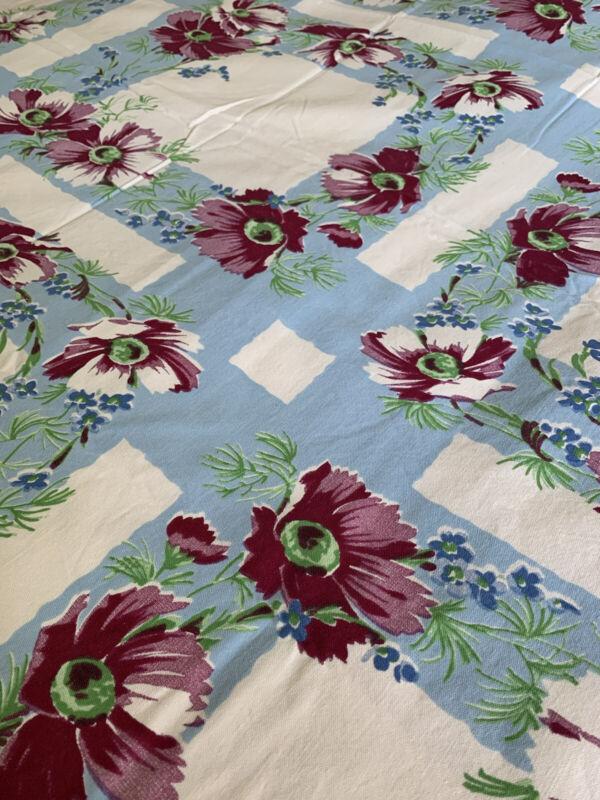 Pristine Vintage Cottage Hand Printed Cotton Wilendur TABLECLOTH ~ 54 X 64 Exc