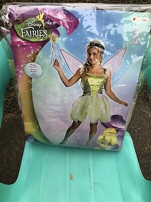 TinkerBell Disney Adult Green Pixie Halloween Costume Large 12-14 New USA Seller