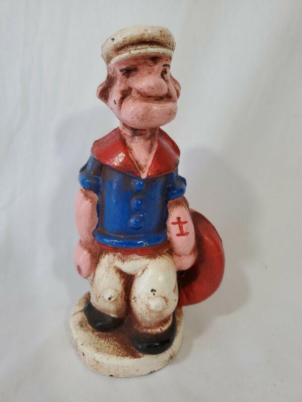 Vintage Popeye the Sailor Man Cast Iron Piggy Bank with Lifesaver