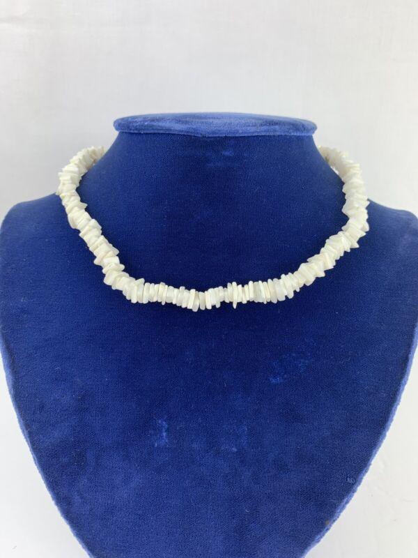 "Vintage Shell Necklace Choker 15"" White Sea Shells Barrel Clasp Closure"