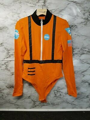 Women's Astronaut Space Chemistry Bodysuit Orange Sz L - Sexy Rave Outfits