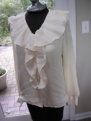 #412 WOMENS VICTORIAN PIRATE POETIC IVORY WHITE SILK RUFFLED BLOUSE SHIRT S (4](White Pirate Blouse)
