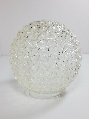 - Vintage  Clear  Ceiling Light Globe  Shade Glass Ball Draped Ribbon Design