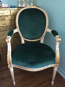 Set of Antique Louis chair with new royal green  velvet