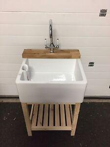 Belfast / Baby Belfast Butler Sink Stand Unit - Oak Tap Ledge Freestanding T100