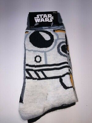 STAR WARS BB8 DROIDS MENS NOVELTY CREW SOCKS 2 PAIRS SHOE SZ 6-12