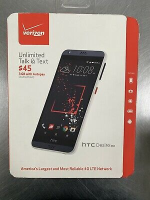 Brand New HTC Desire 530 4G LTE 16GB Verizon Wireless Prepaid Smartphone - White