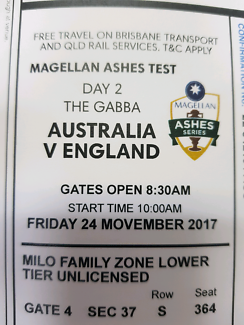 ashes cricket Gabba day two - 2x adult