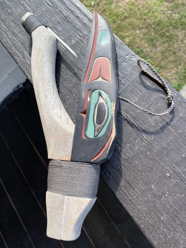 Northwest Coast Old Vintage Carved Raven Halibut Hook..Signed JMT