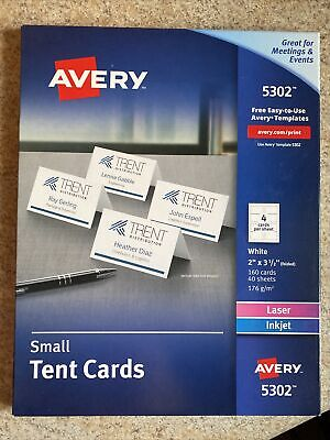 Avery 5302 Small Tent Cards 2 X 3-12 White Pack Of 160 Cards 40 Sheets