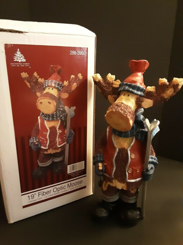 "Enchanted Forest 19"" Fiber Optic Christmas Moose Skier Color Changing 2009  (8)"