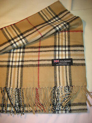 Best holiday gift! NEW Tan Beige Camel Check  Plaid 100% Cashmere scarf !](Holiday Scarf)
