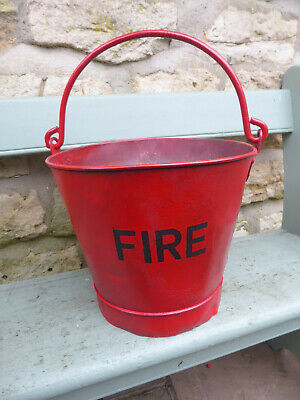 Heavy Duty Vintage Galv Bucket Painted Red with FIRE Lettering
