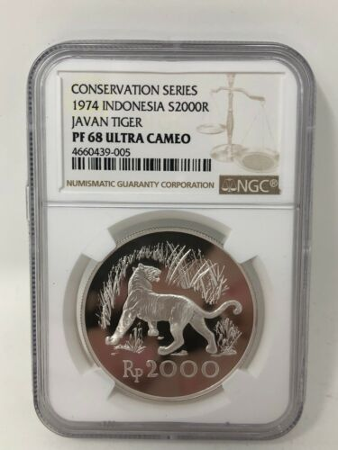 1974 Indonesia 2000 Rupiah Conservation Javan Tiger NGC PF68 Ultra Cameo
