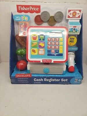 New FISHER-PRICE Cash Register Set Real Working Calculator Plastic 3 Years & Up