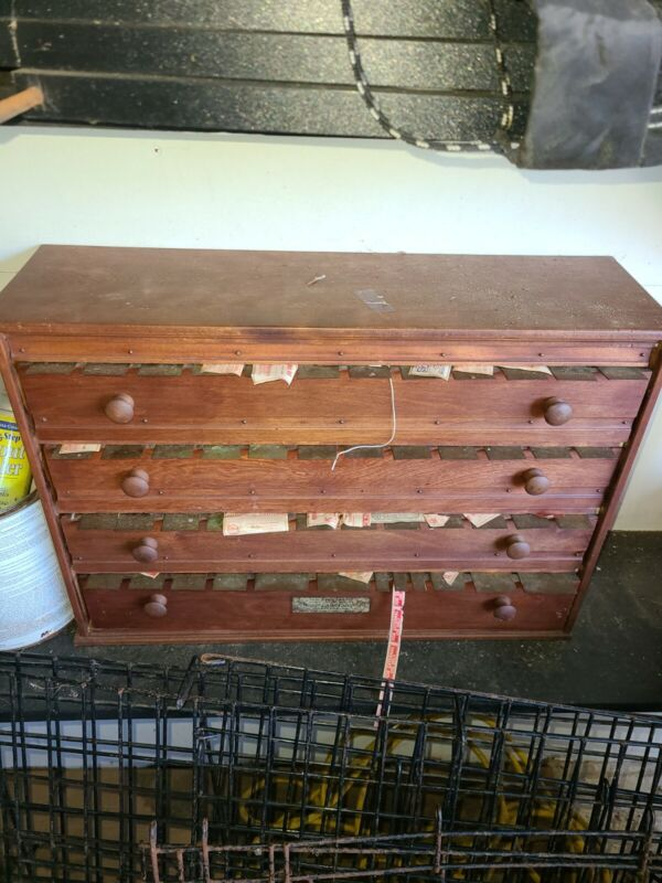 Drug Store McCourt Label Cabinet Made in Bradford, PA  1904 4 Drawers 40+ Bins