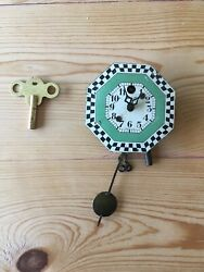 Vintage Wag On The Wall Tiny Wall Clock by August C. Keebler With Key