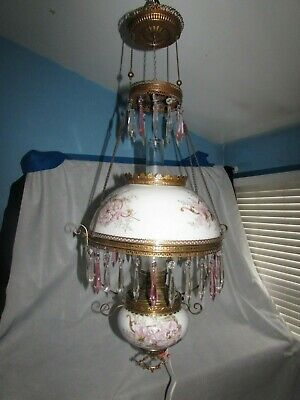 ANTIQUE VICTORIAN HANGING ELECTRIFIED OIL LAMP W 42 CRYSTAL PRISMS PINK FLOWERS
